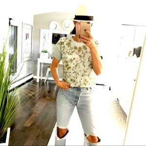 Alice + Olivia embroidered silk flower shirt XS